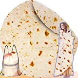 INNOCEDEAR Burritos Tortilla Blanket,71 Inches Double Side Flannel Tortilla Blanket, Flour Tortilla Throw Blankets,Soft Novelty Giant Round Blanket for Adults& Kids.