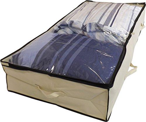 Neusu Starke Unterbettkommode, Durchsichtigem Verschluss, 150 Liter 125x60x20cm, Beige