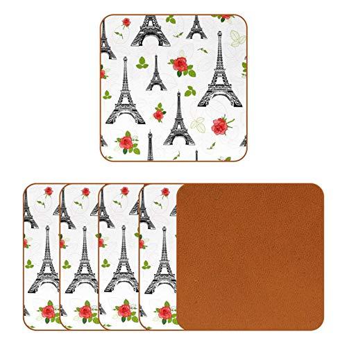 Posavasos de piel para bebidas, diseño de París Eiffel y rosas impreso, para proteger muebles, resistente al calor, decoración de bar de cocina, juego de 6