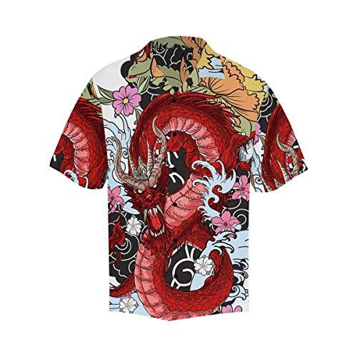 INTERESTPRINT Men's Casual Button Down Short Sleeve Red Dragon Florals Hawaiian Shirt XXL