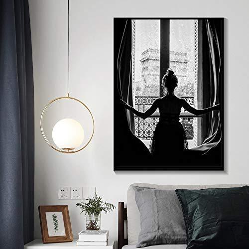 Minimalistische Schwarz-Weiß-Fenster Mädchen Ballerina Poster Tänzer Leinwand Malerei Wandbild Wohnzimmer Dekoration Malerei rahmenlose Malerei A31 70x100cm