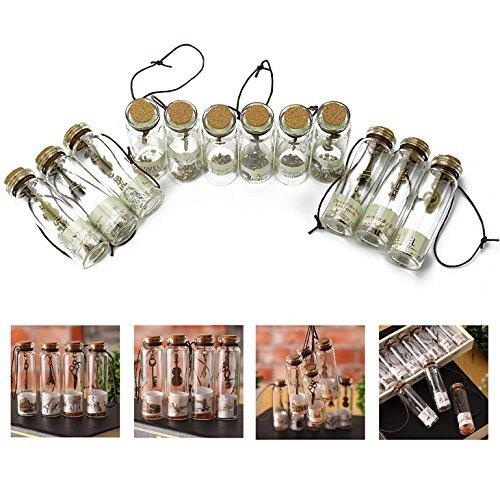 Itian 12 Pcs Botellas de Deseo, Mini Botellas de Cristal con Tapones de Corcho, Colgante de Suerte Transparentes en Forma de Tarros de Cristal para Decoración DIY, Especias