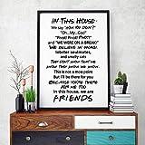 Imagen de Lienzo Inspirada en el Programa de televisin Friends Quotes, pster de Arte de Pared Inspirado, En Esta casa Reglas Familiares Regalo de inauguracin de la casa/ 40X50Cm / Sin Marco