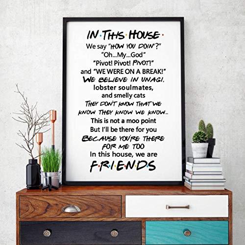 Imagen de Lienzo Inspirada en el Programa de televisión Friends Quotes, póster de Arte de Pared Inspirado, En Esta casa Reglas Familiares Regalo de inauguración de la casa/ 40X50Cm / Sin Marco