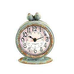 Creative Co-op Grey Pewter Mantel Birds Clocks, Pack of 1,DA3835