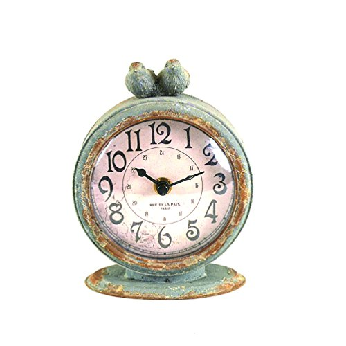 Creative Co-op Grey Pewter Mantel Birds Clocks, Pack of 1