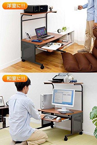 サンワダイレクトパソコンデスクロータイプ幅75cmプリンター設置可能キーボードスライダー付キャスター付きダークオーク木目柄100-DESK009