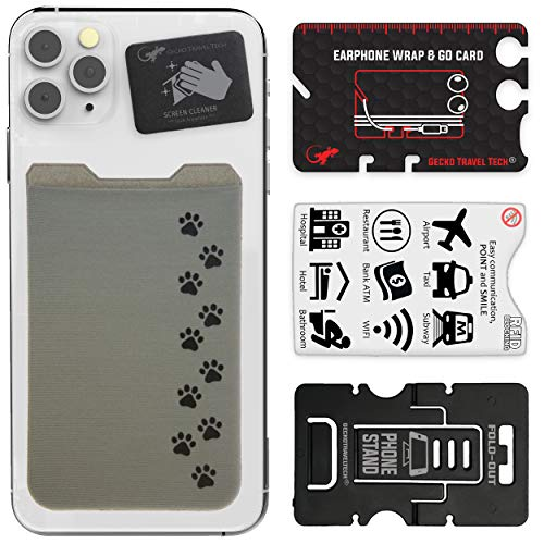 The Gecko Adhesive Card Wallet for Cell Phones, Ultra Slim & Custom Designed (Patas de Perro)
