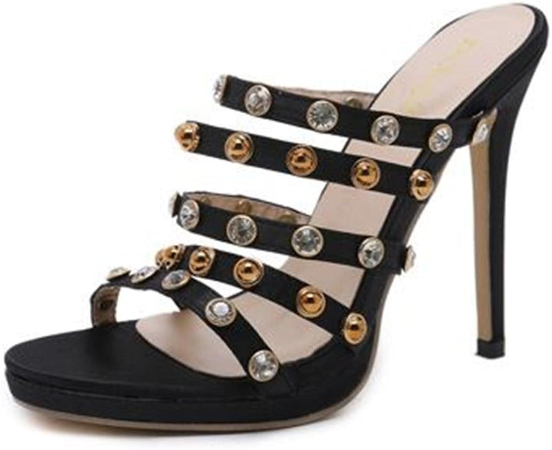 SUNNY Store Women Robin Rhinestone Embellished High Heel Prom Party Dress Mule Sandal