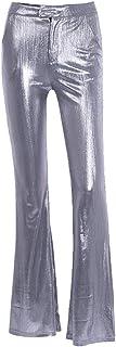 WSPLYSPJY Women's Shiny Bell Bottom Flare Pants Metallic Bootcut Palazzo Retro Leggings Pants Silver S