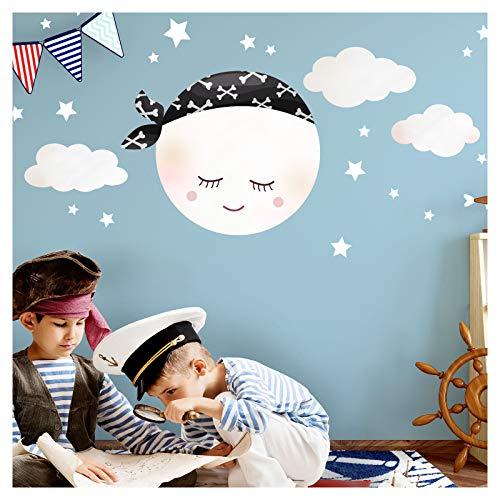 Little Deco Wandsticker Kinderzimmer Junge Mond Piraten Kopftuch & Wolken I M - 23 x 19 cm (BxH) I Wandtattoo Pirat selbstklebend Wandaufkleber Sterne Kinder DL272