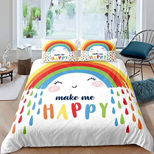 Tbrand Toddler Bedding Set Double Size Rainbow Comforter Cover Set Kid Cartoon Duvet Cover for Nursery Baby Little Boys Girls Raindrops Gypsy Comforter Cover for Living Room Decorative