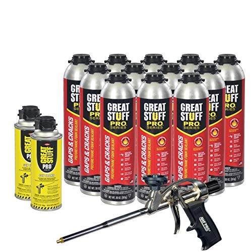 """GREAT STUFF PRO Gaps and Cracks - 30oz Fireblock Foam Insulation Sealant, Pack of 12. Closed Cell, Polyurethane Expanding Spray Foam. Seals & Insulates Gaps Up to 3"""". Applicator Gun, Cleaner Included"""