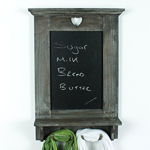 Chalkboards UK Tableau en forme de cœur en bois avec crochets pour cuisine Motif tableau noir pour mémo Style Shabby Chic