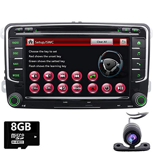 FoIIoE Autoradio stéréo pour VW Jetta Passat Touran Polo avec GPS Bluetooth Support CD DVD GPS USB SD AUX Caméra de recul iPod Carte 8 Go