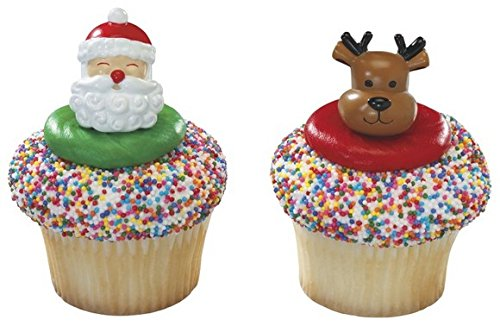 Jolly Santa & Reindeer Christmas Cupcake Rings - 24 pc