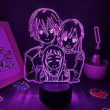 Lámpara de ilusión 3D Luz de noche LED Sword Art Online Figura de anime Sao Kirigaya Kazuto Lava Rgb Regalos geniales para un amigo Dormitorio Decoración de manga para niños Niños Niñas