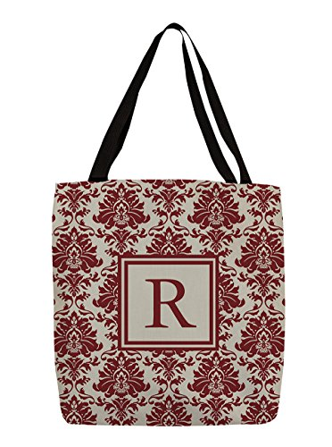 Manual Woodworkers & Weavers Shopping Tote Bag, 18-Inch, Monogrammed Letter R, Crimson Damask