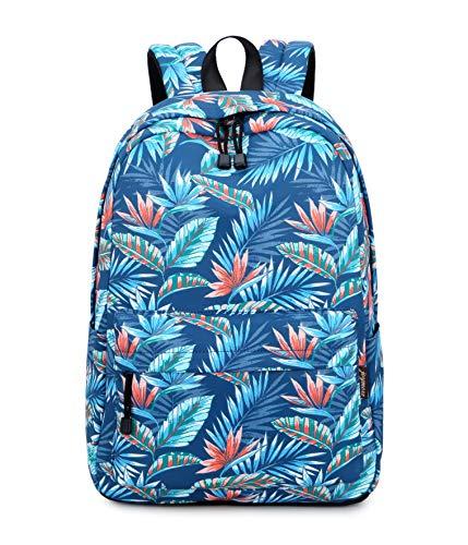 Acmebon Süße Schultaschen für Mädchen Frauen Stilvoll 15,6 Zoll Laptop Rucksack Kurz Reise Rucksack Blaues Blatt