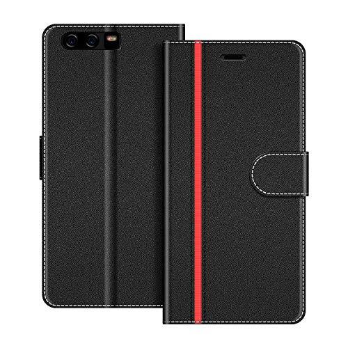 COODIO Handyhülle für Huawei P10 Plus Handy Hülle, Huawei P10 Plus Hülle Leder Handytasche für Huawei P10 Plus Klapphülle Tasche, Schwarz/Rot
