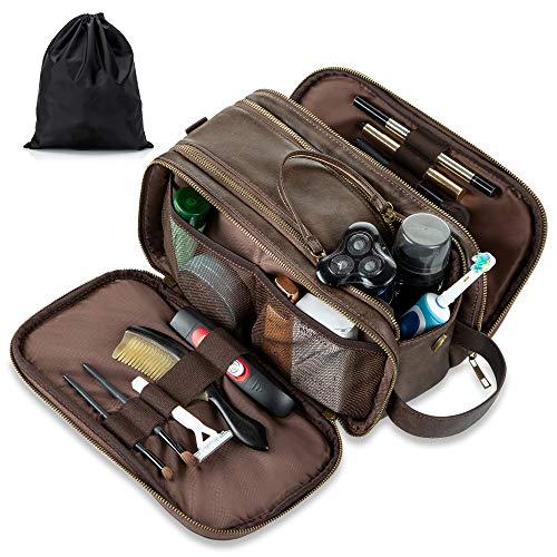 Elviros Kulturbeutel PU-Leder für Herren große wasserdichte Reise-Kulturtasche Waschtasche im Bade Kosmetiktasche mit einem Nass-Trockenbeutel(Dunkel Braun)