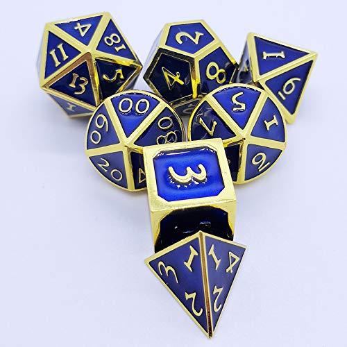Juan-375 Juego de 7 dados de metal para juegos de mazmorras y dragones y dados de metal Pathfinder para la mayoría de los juegos de mesa (color: azul)