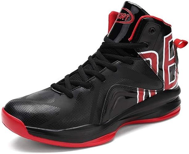 YSZDM Chaussures de Basket-Ball, résistant à l'usure antidérapants Chaussures de Sport pour Hommes Amorti entraîneur de Basket-Ball Bottes Outdoor,noirandrouge,39