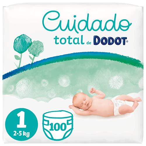 Dodot Pañales Bebé Cuidado Total Talla 1 (2-5 kg), 100 Pañales, Suave Protección de la Piel de Dodot con Ingredientes de Origen Vegetal