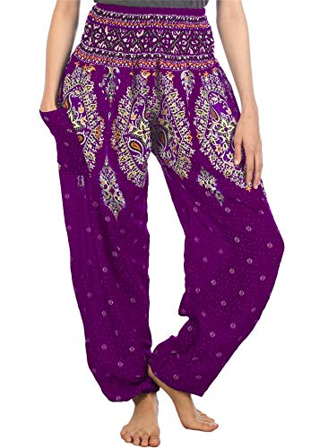 Lofbaz Damen Haremshose mit gesmoktem Bund Floral Violett S