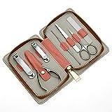 Set Manicure Donna, Kit 7 In 1 Strumenti Professionali per Pedicure Acciaio Inossidabile con Lussuosa Borsa Cerniera Da Viaggio o la Cura Della Casa