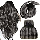 LaaVoo Silver to Black Tape in Hair Extensions Real Human Hair Balayage Tape in Human Hair Extensions Ombre Off Black Balayage Silver Gray Tape Remy Hair Extensions Salt and Pepper 50g 20pcs 16'