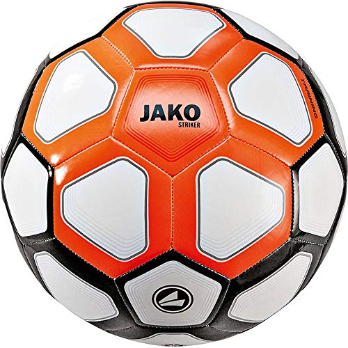 JAKO Herren Trainingsball Striker MS, weiß/Neonorange/schwarz, 5