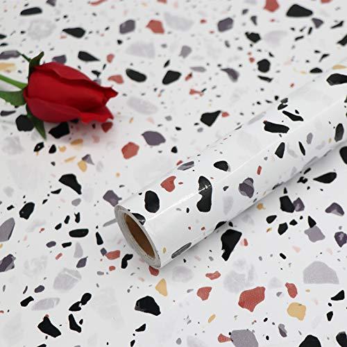 Papel Adhesivo para Azulejos Cocina 40X300cm Impermeable Papel Pintado Autoadhesivo para Mueble Baño Vinilo Decorativos Piedras de Colores