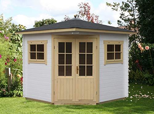 Alpholz 5-Eck Gartenhaus Sunny-A aus Massiv-Holz | Gerätehaus mit 28 mm Wandstärke | Garten Holzhaus inklusive Montagematerial | Geräteschuppen Größe: 200 x 200 cm | Spitzdach