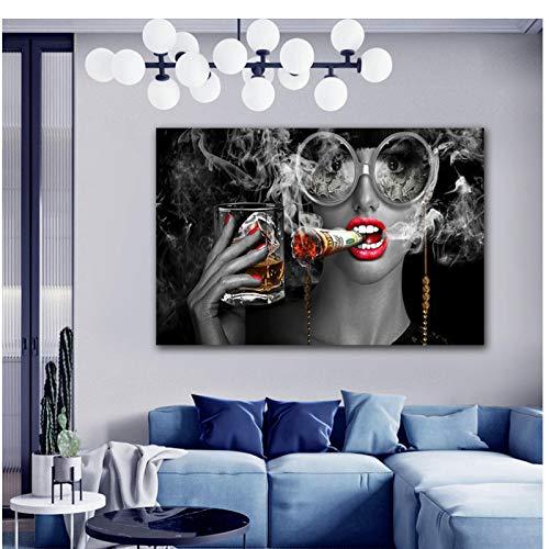 SYBS Nuevo Arte Mujer fumadora con Gafas de Vidrio impresión de póster Pintura al óleo Cuadros de Pared para Espejos de la Sala Dibujar core-36x48 Pulgadas (90x120cm) sin Marco