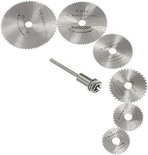 Stark 7st Cirkelsåg HSS Rotary Blades Verktyg Skärskivor Mandrel Fit för Wood Cutting Kraftig (Color : Silver)