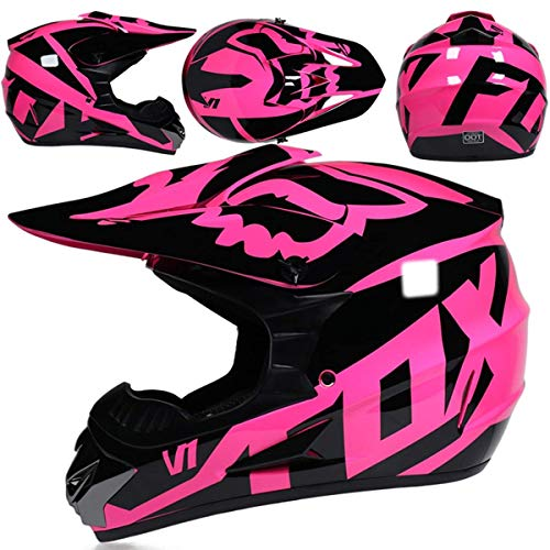 Casco Motocross Niño, Dot Certificación Casco de Moto para Niños Downhill.Cascos de Cross de Moto Set con Gafas/Máscara/Red Elástica/Guantes, Rosado,L