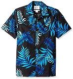 Amazon Brand - 28 Palms Men's Standard-Fit Tropical Hawaiian Shirt, Black/Blue Midnight, Large