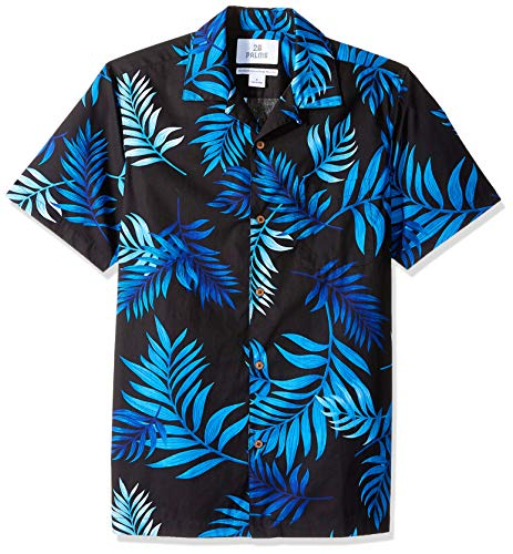 Marca Amazon - 28 Palms – Camiseta para hombre (100 % algodón, corte estándar), diseño hawaiano tropical, Negro (Black/Blue Midnight Tropical), US M (EU M)