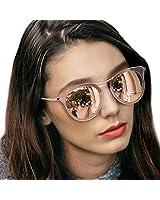 LVIOE Cat Eye Women's Sunglasses, Polarized Fashion Vintage Eyewear for Driving - 100% UV400 Protection (Rose Gold Mirror Cat Eye Sunglasses)