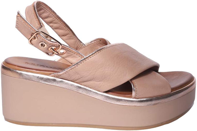 LOTA Sandalo Pelle Con Fasce Incrociate, Laccio alla Caviglia e Zeppa Sagomata Rivestita