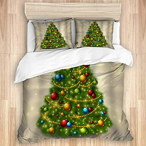 3 Pieces Duvet Cover,Christmas Tree with Colorful Ornaments,Quality Bedding Set with 1 Quit Cover and 2 Pillowcases Various Style Colour
