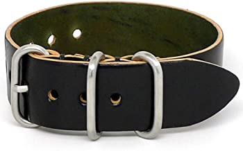 DaLuca Shell Cordovan 1 Piece Military Watch Strap - Black (Matte Buckle) : 20mm