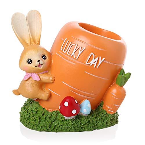 Cartoon Rabbit Lápiz Soporte de Lápiz Escritorio Pluma Pluma Creativa Resina Escritorio de Escritorio Caja Lindo Lápiz Almacenamiento Decoración de Escritorio Oficina