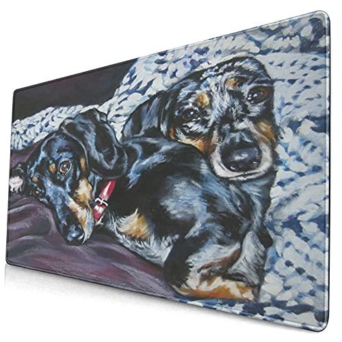 VINISATH Alfombrilla Gaming,Retrato de Perro Dachshund Pet Realism L.A. Cachorro Pastor,con Base de Goma Antideslizante,750×400×3mm