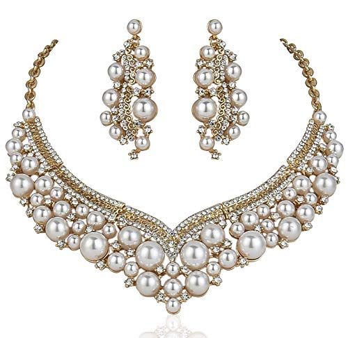 Janefashions Sexy Faux White Ivory Pearl Austrian Rhinestone Crystal Bib Statement Necklace Earrings Jewelry Set Bridal Wedding Silver or Gold Plated Party Prom N12127 (Gold Tone) Crystal Bib Statement Necklace