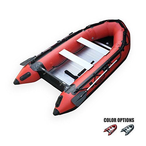 Seamax Ocean320 Heavy Duty 10.5 Feet Inflatable Boat with Rigid Aluminum Floor and V-Shape Soft Bottom (Red)