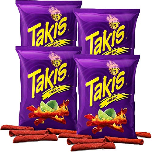 Takis Fuego Hot Chili Pepper & Lime Tortilla Chips, 4oz Bag (2-Pack)