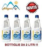 Sanity WC Liquido per Serbatoio ACQUE Nere WC Camper Principio Attivo Aqua KEM *** 4 Bottiglie da 2 Litri ***