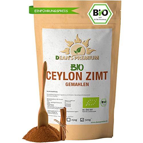 CEYLON ZIMT BIO (500g) | Zimt Pulver BIO arm an Cumarin 100{49403b51d3c37d833da1b83388ce9f3b71746388a19b4e7242e7a068a650a0c5} echtes Zimt Ceylon | Premium Qualität abgefüllt und kontrolliert in Deutschland (DE-ÖKO-007) | Verpackung ohne Aluminium Dean\'s Premium